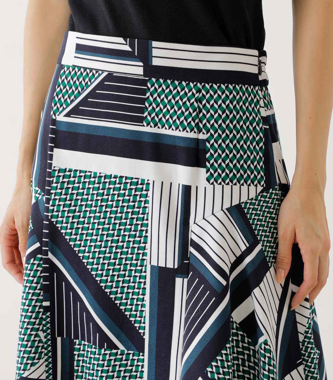 SCARF PATTERN SKIRT/スカーフパターンスカート 詳細画像 柄GRN 9