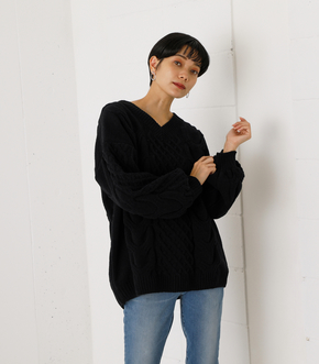 CHENILLE CABLE V/N KNIT TOPS/シェニールケーブルVネックニットトップス