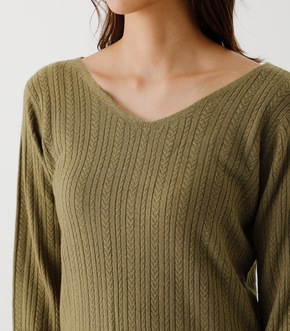 NUDIE 2WAY CABLE KNIT TOPS/ヌーディー2WAYケーブルニットトップス 詳細画像