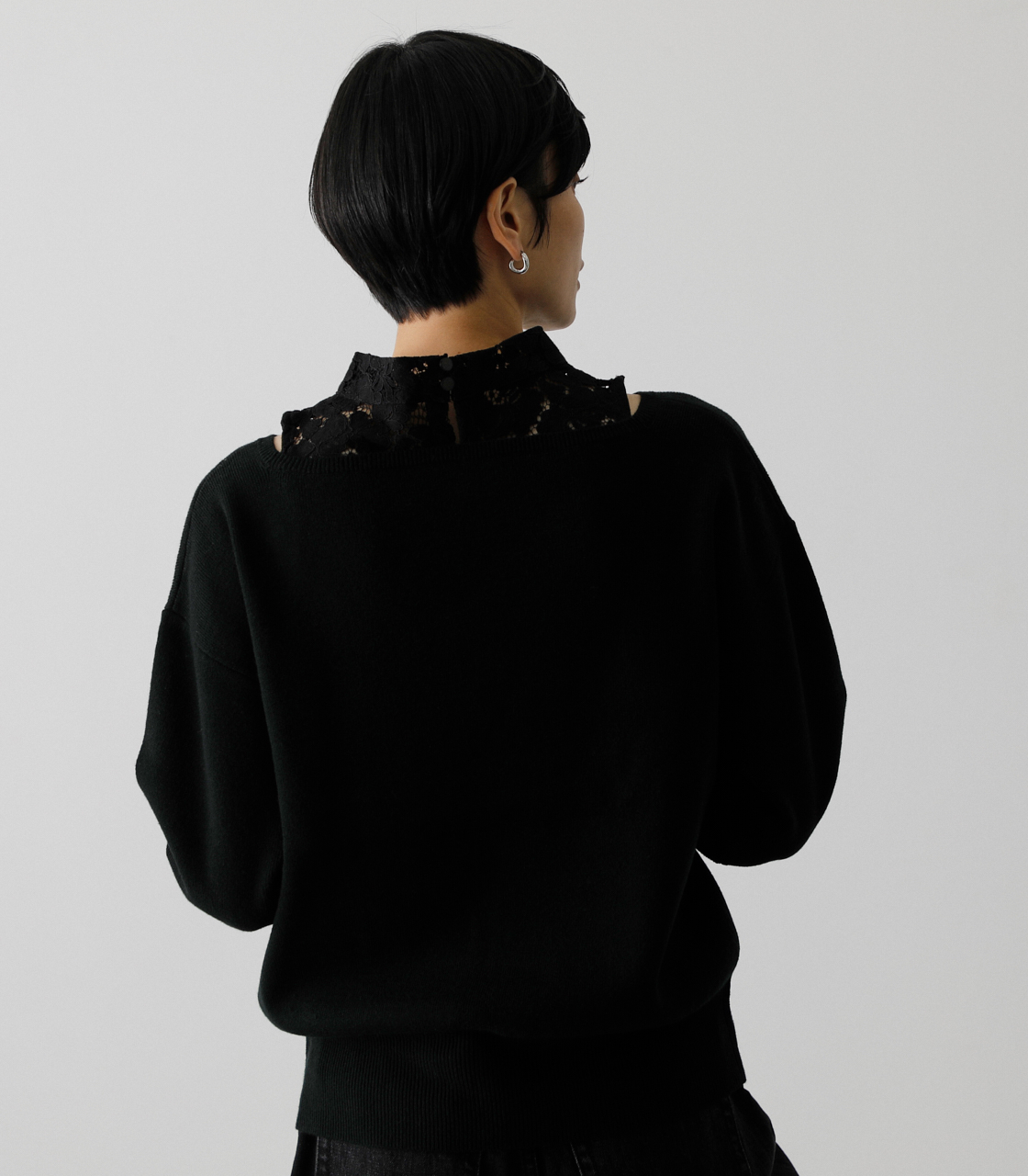 LACE DOCKING CACHE-COEUR TOPS/レースドッキングカシュクールトップス 詳細画像 BLK 2