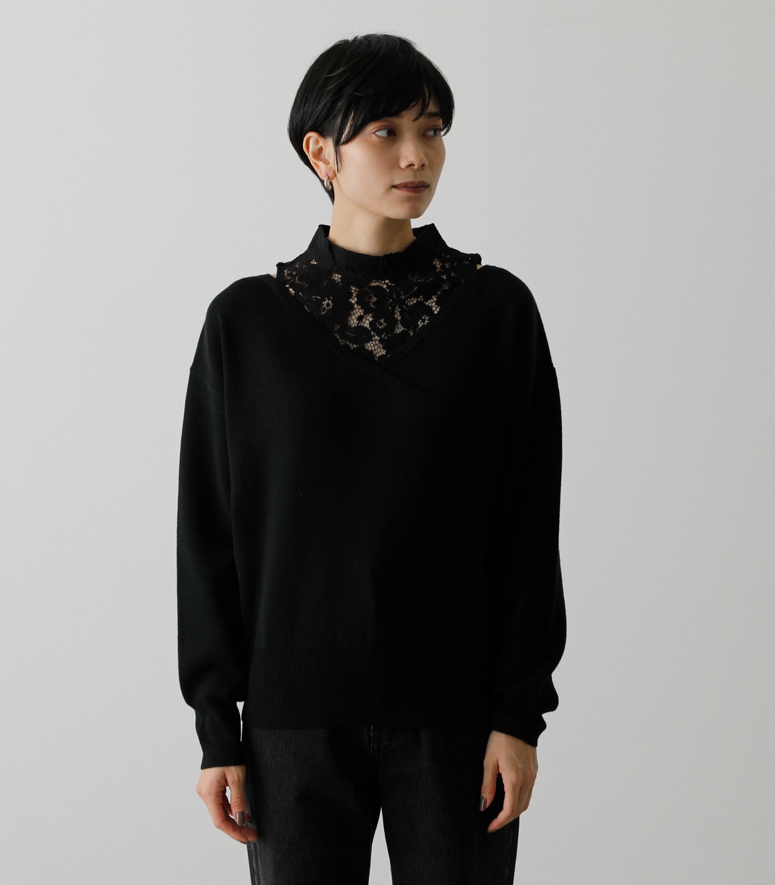 LACE DOCKING CACHE-COEUR TOPS/レースドッキングカシュクールトップス 詳細画像 BLK 5