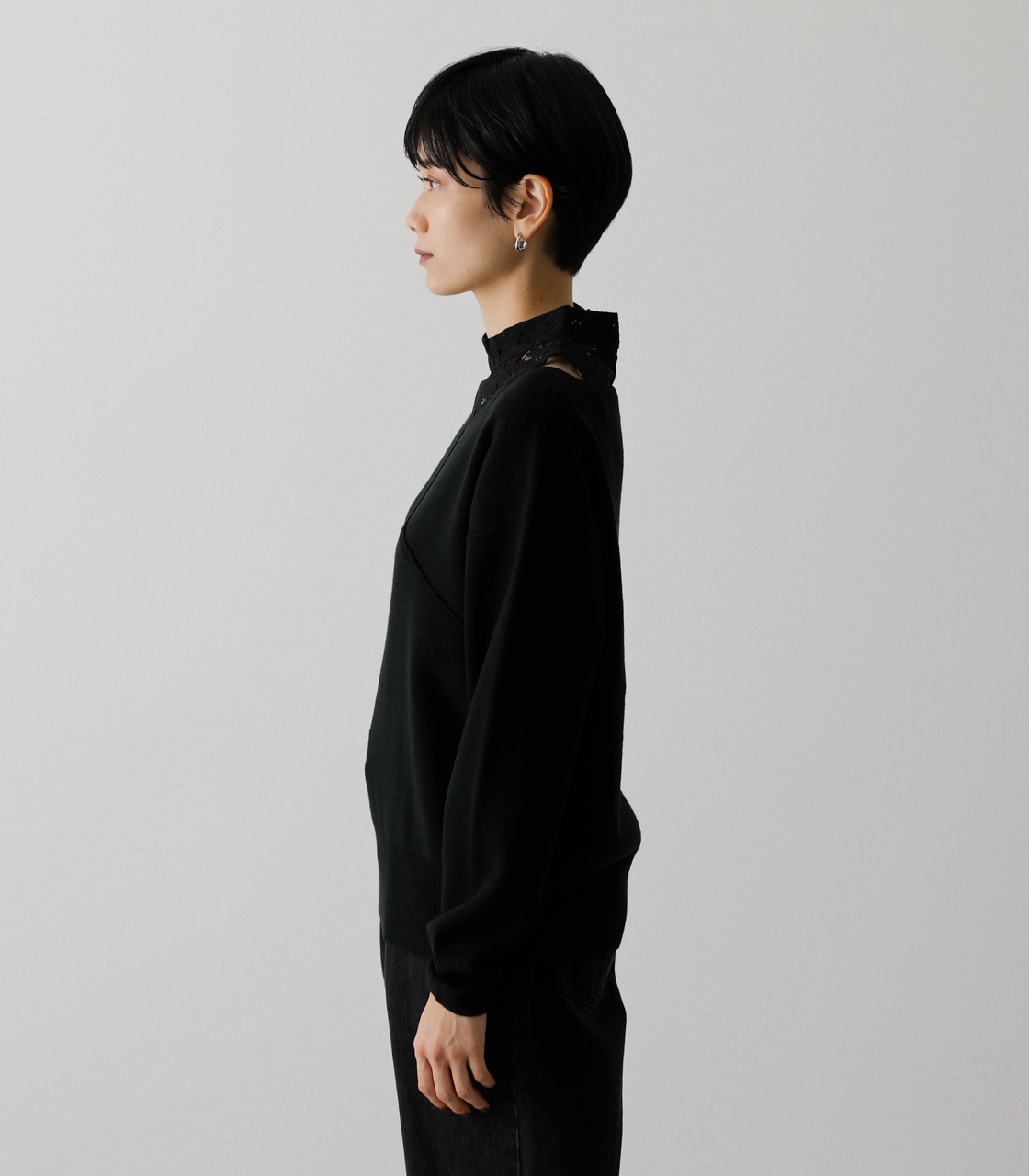 LACE DOCKING CACHE-COEUR TOPS/レースドッキングカシュクールトップス 詳細画像 BLK 6