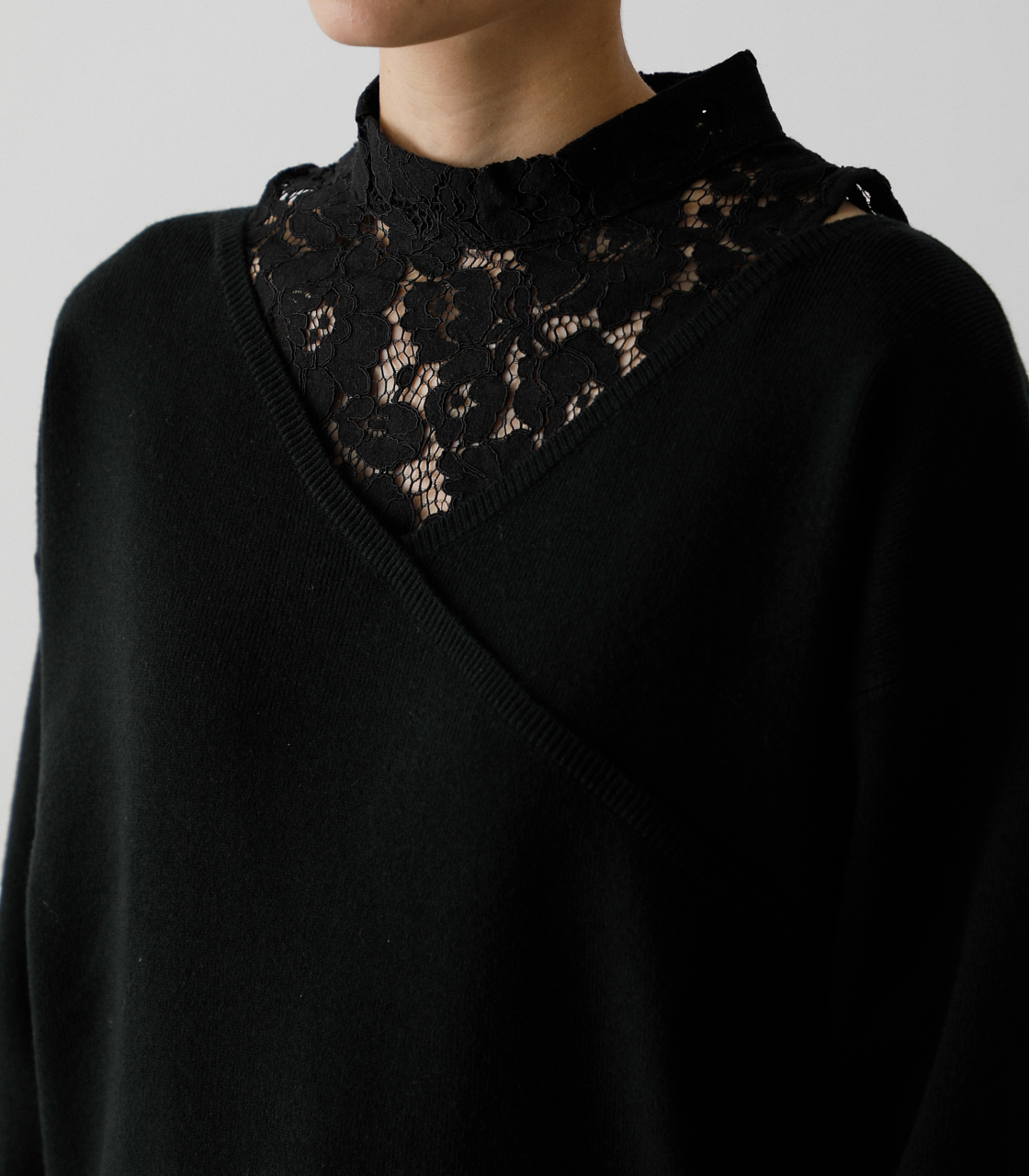 LACE DOCKING CACHE-COEUR TOPS/レースドッキングカシュクールトップス 詳細画像 BLK 9