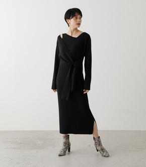 FRONT LINK ASYMMETRY KNIT OP/フロントリンクアシンメトリーニットワンピース