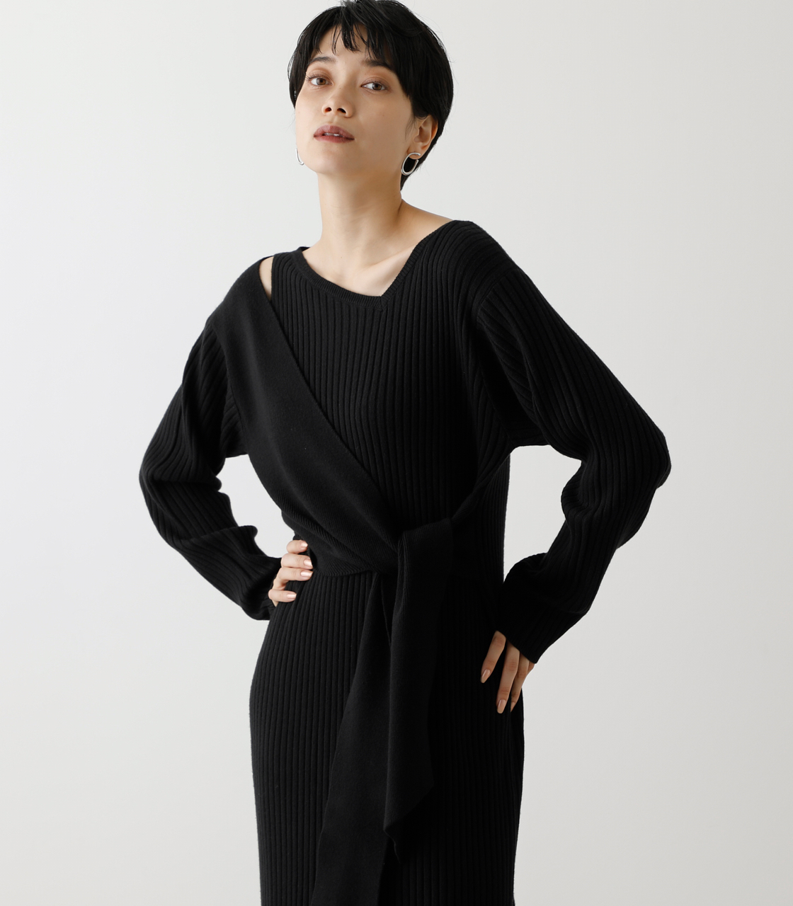 FRONT LINK ASYMMETRY KNIT OP/フロントリンクアシンメトリーニットワンピース【MOOK53掲載 90004】 詳細画像 BLK 2