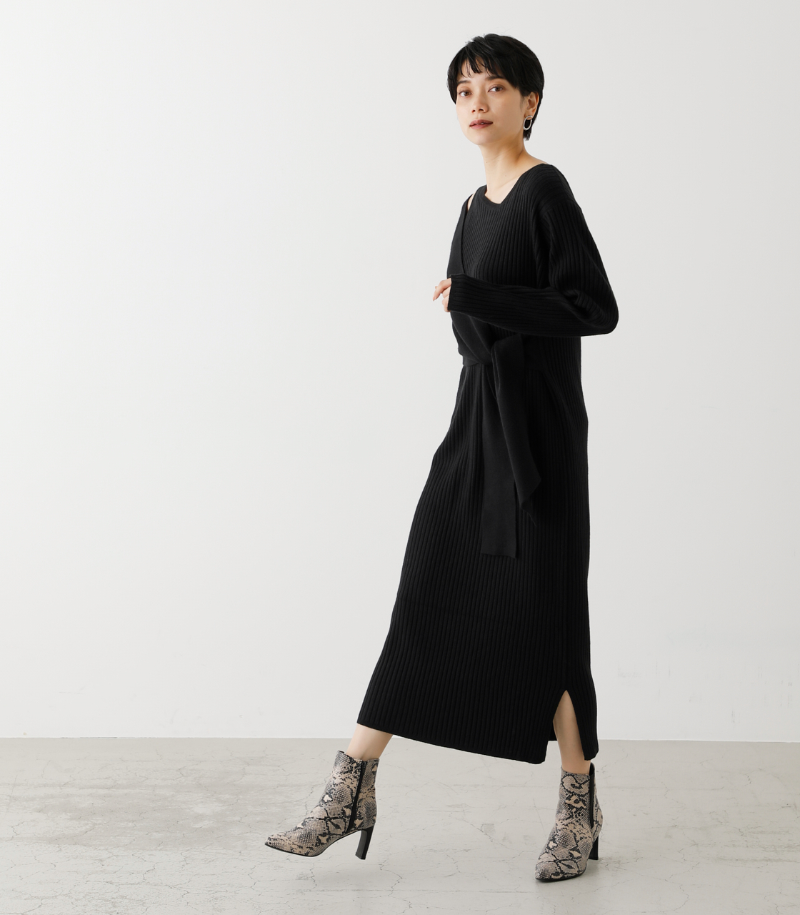 FRONT LINK ASYMMETRY KNIT OP/フロントリンクアシンメトリーニットワンピース【MOOK53掲載 90004】 詳細画像 BLK 4