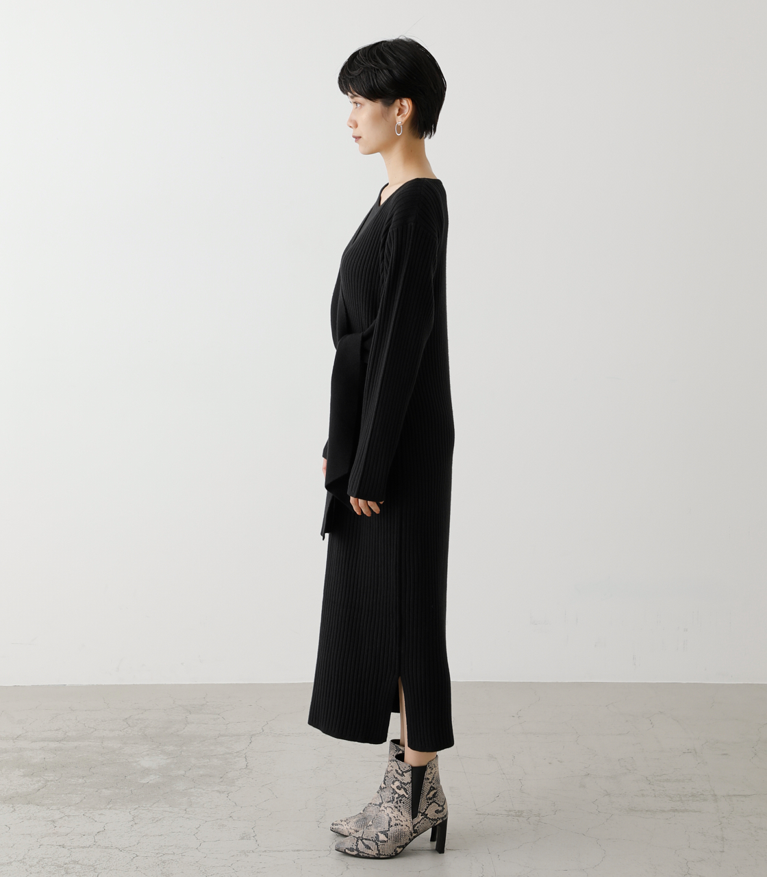 FRONT LINK ASYMMETRY KNIT OP/フロントリンクアシンメトリーニットワンピース【MOOK53掲載 90004】 詳細画像 BLK 6
