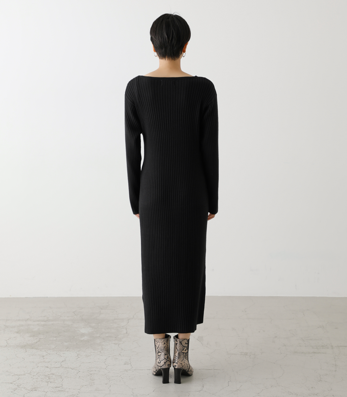 FRONT LINK ASYMMETRY KNIT OP/フロントリンクアシンメトリーニットワンピース【MOOK53掲載 90004】 詳細画像 BLK 7