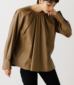 ECO LEATHER GATHER TOP/エコレザーガータートップ