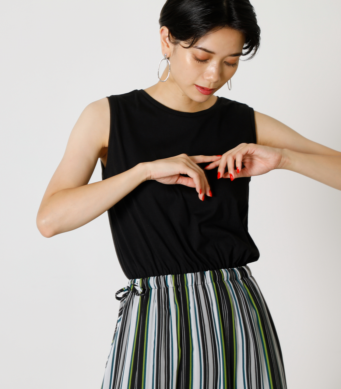 2WAY STRIPE COMBI ONEPIECE/2WAYストライプコンビワンピース 詳細画像 柄BLK 2