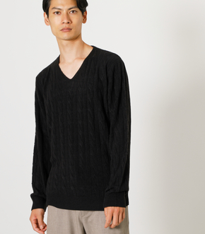 NUDIE KNIT V/N CABLE PULLOVER/ヌーディーニットVネックケーブルプルオーバー