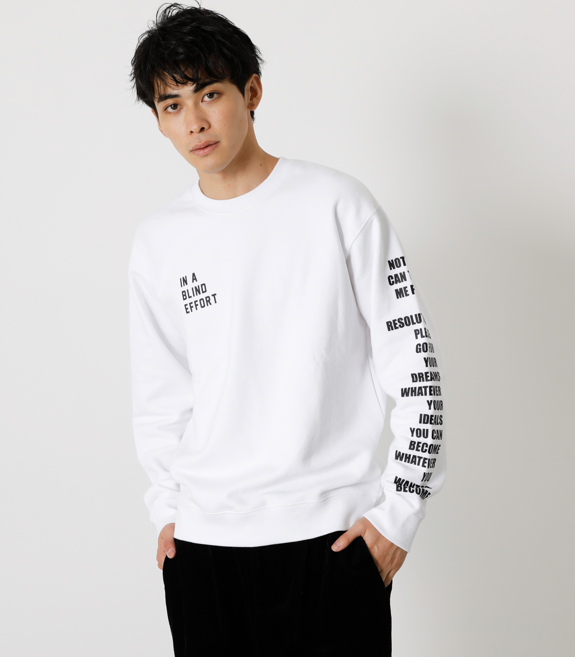 ONE ARM MESSAGE PULLOVER/ワンアームメッセージプルオーバー 詳細画像 WHT 1