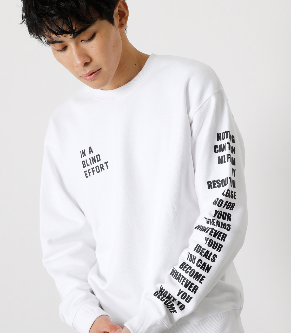 ONE ARM MESSAGE PULLOVER/ワンアームメッセージプルオーバー 詳細画像 WHT 2