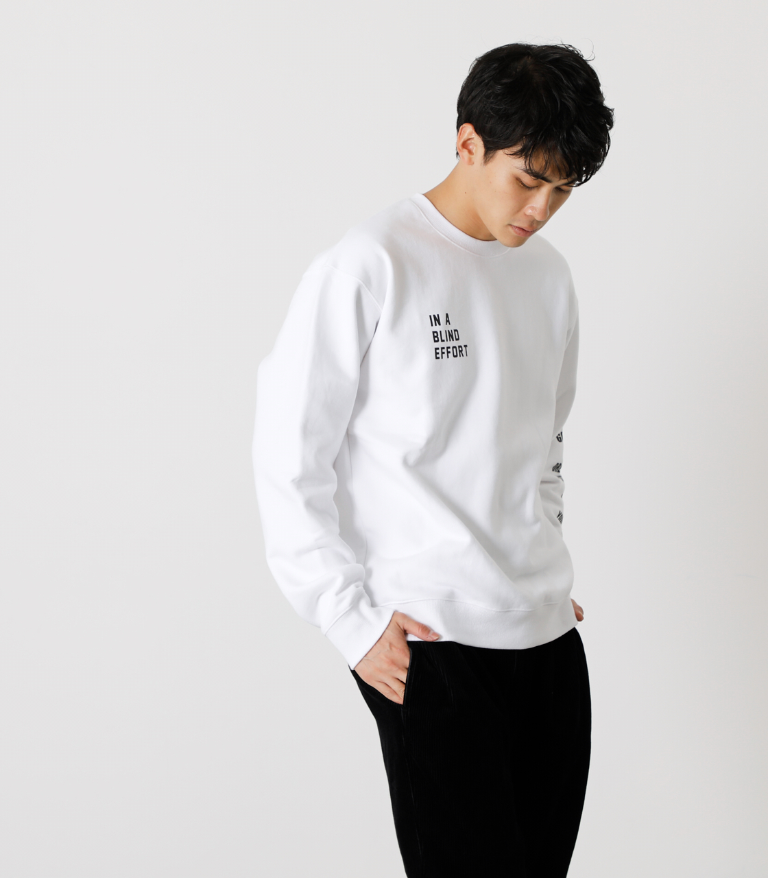 ONE ARM MESSAGE PULLOVER/ワンアームメッセージプルオーバー 詳細画像 WHT 3