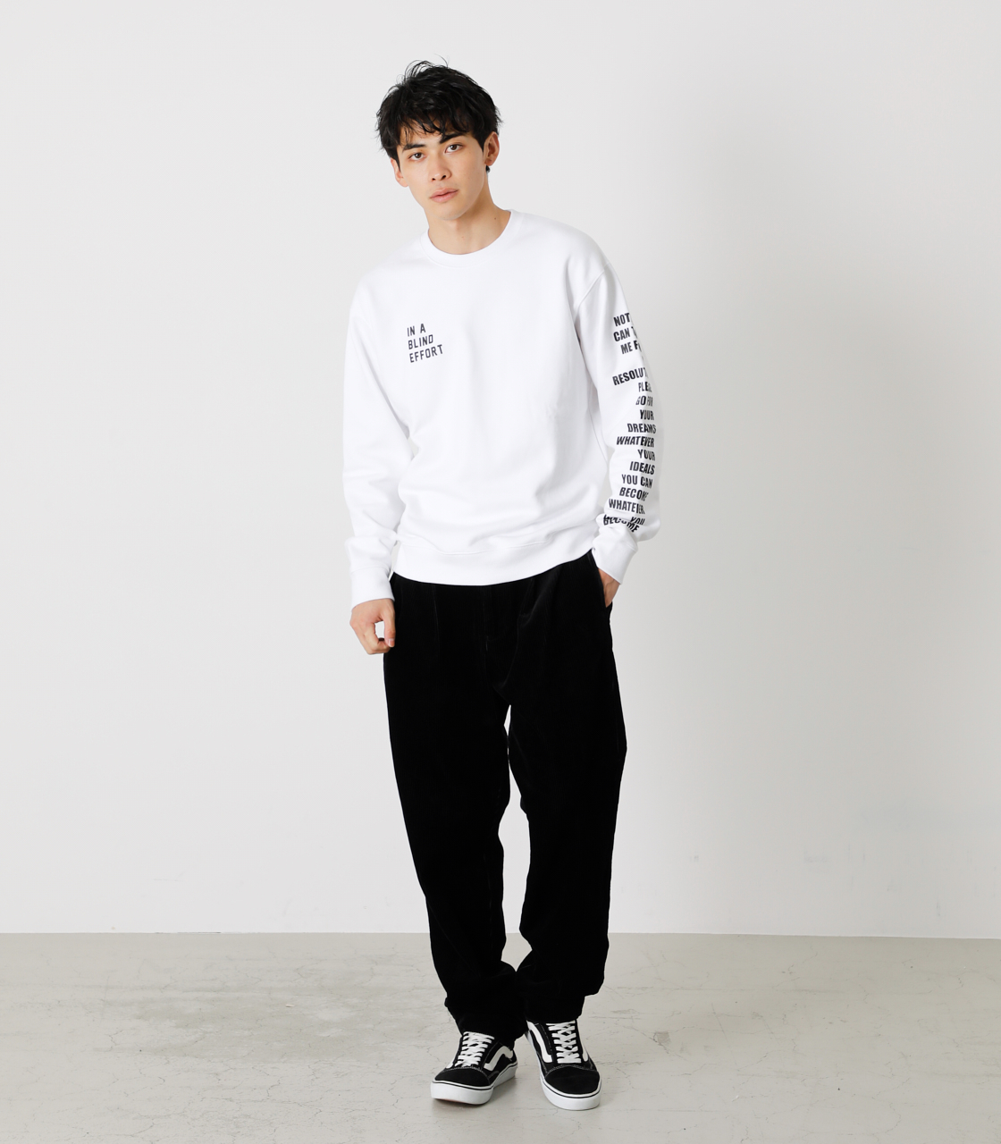 ONE ARM MESSAGE PULLOVER/ワンアームメッセージプルオーバー 詳細画像 WHT 4