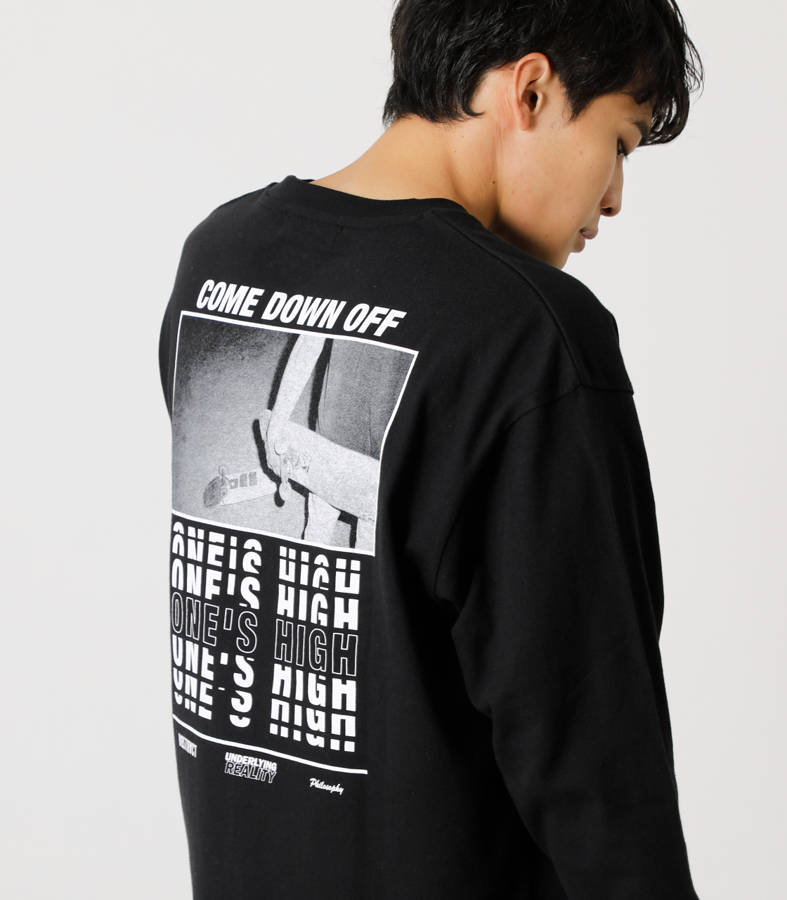 ONE'S HIGH LONG TEE/ワンズハイロングTシャツ 詳細画像 BLK 2