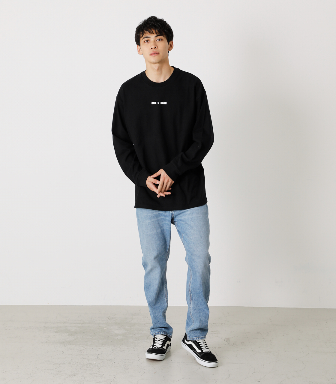 ONE'S HIGH LONG TEE/ワンズハイロングTシャツ 詳細画像 BLK 4
