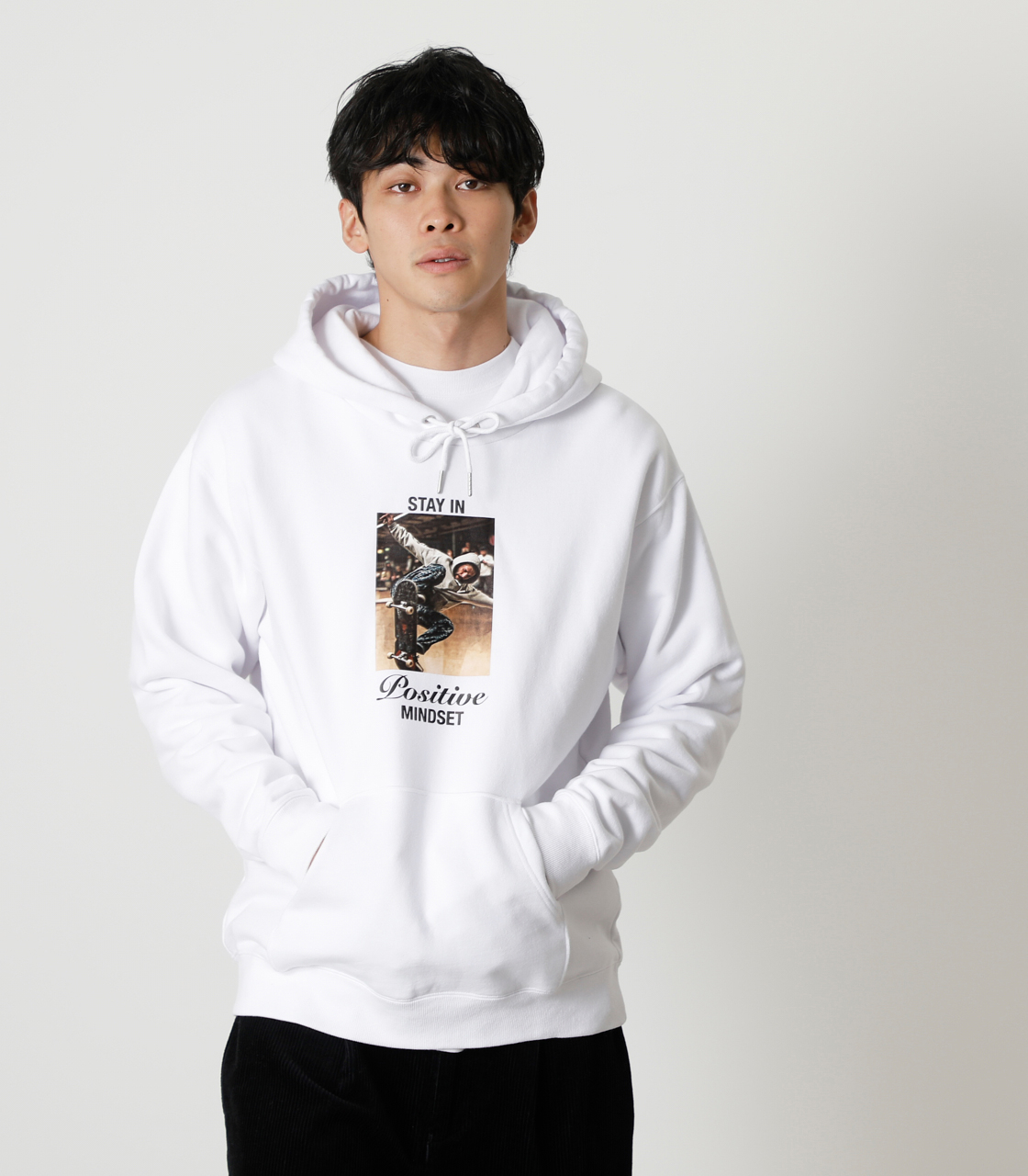 STAY IN POSITIVE HOODIE/ステイインポジティブフーディ 詳細画像 WHT 1