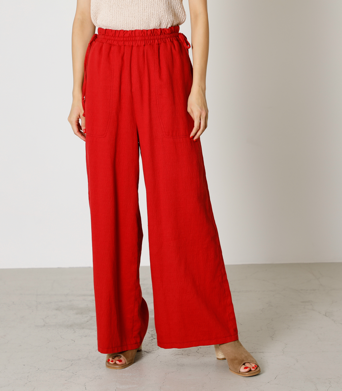 LINEN TOUCH LOOSE PANTS/リネンタッチルーズパンツ 詳細画像 RED 1