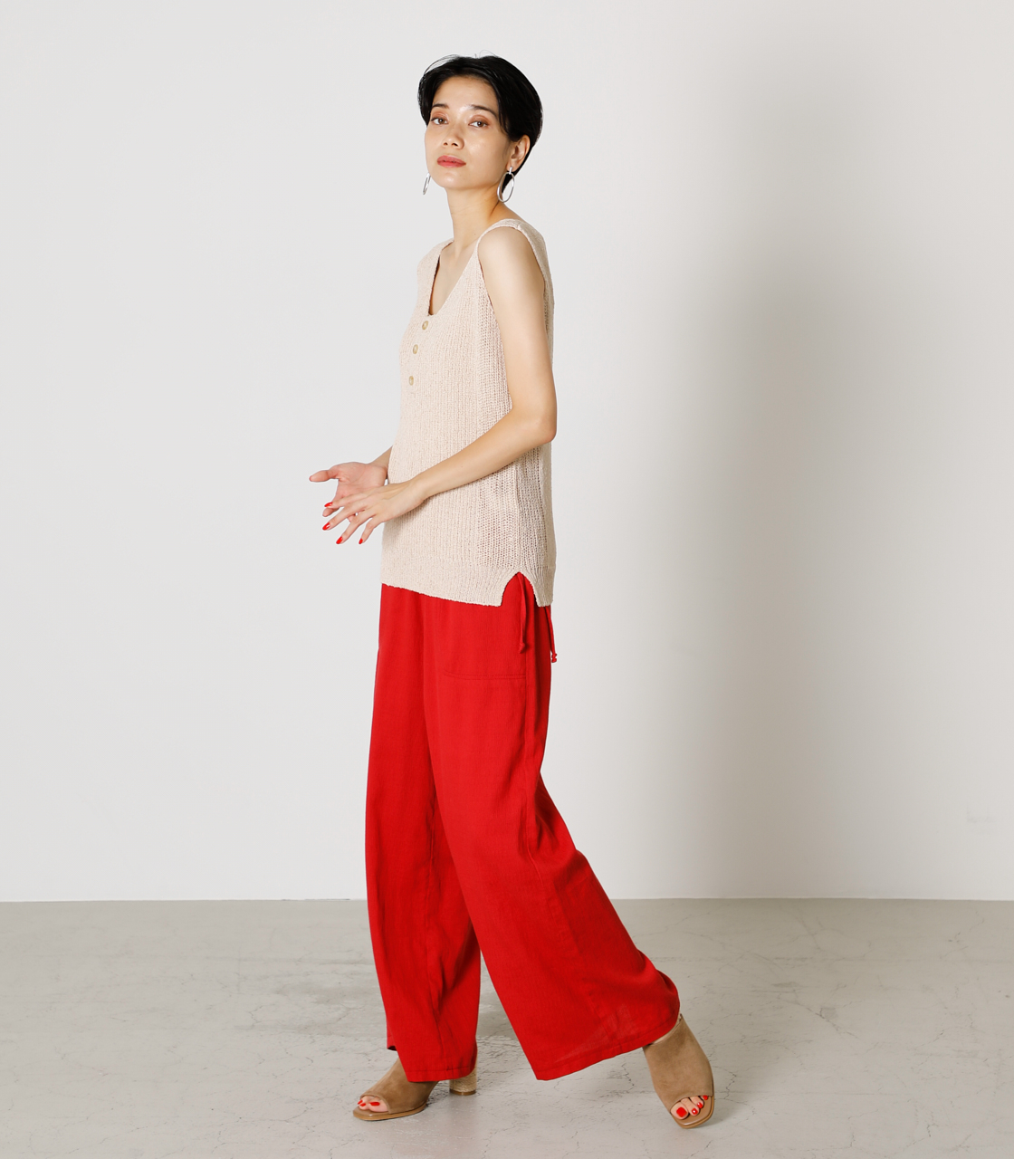 LINEN TOUCH LOOSE PANTS/リネンタッチルーズパンツ 詳細画像 RED 2