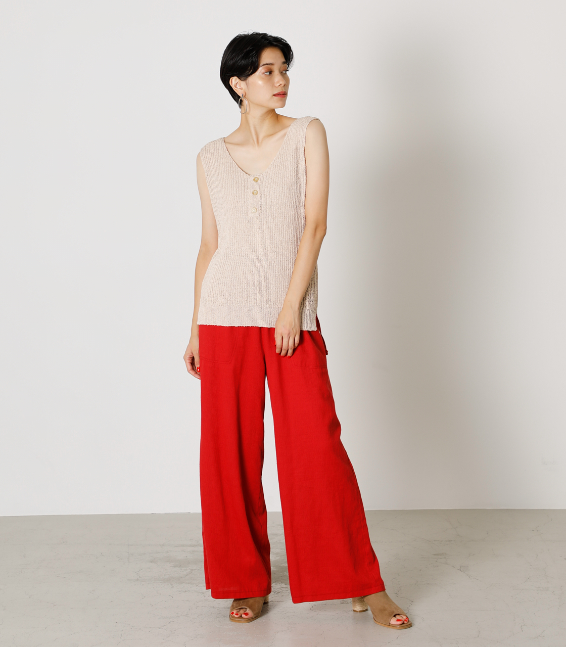 LINEN TOUCH LOOSE PANTS/リネンタッチルーズパンツ 詳細画像 RED 3