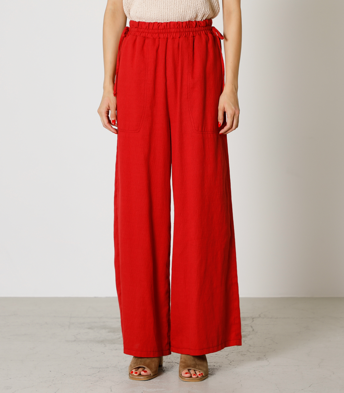LINEN TOUCH LOOSE PANTS/リネンタッチルーズパンツ 詳細画像 RED 4