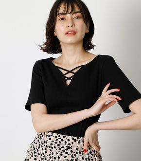 HEART NECK LACE UP TOPS/ハートネックレースアップトップス