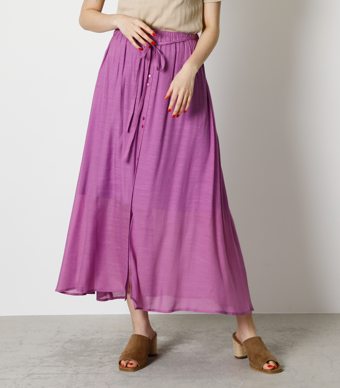SHEER RELAX SKIRT/シアーリラックススカート 詳細画像 PUR 1