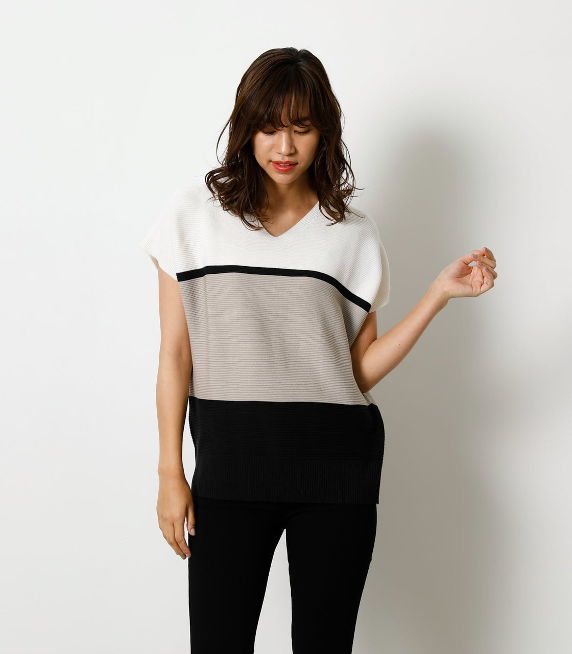 LOOSE PANEL KNIT TOP/ルーズパネルニットトップ 詳細画像 柄BEG 1