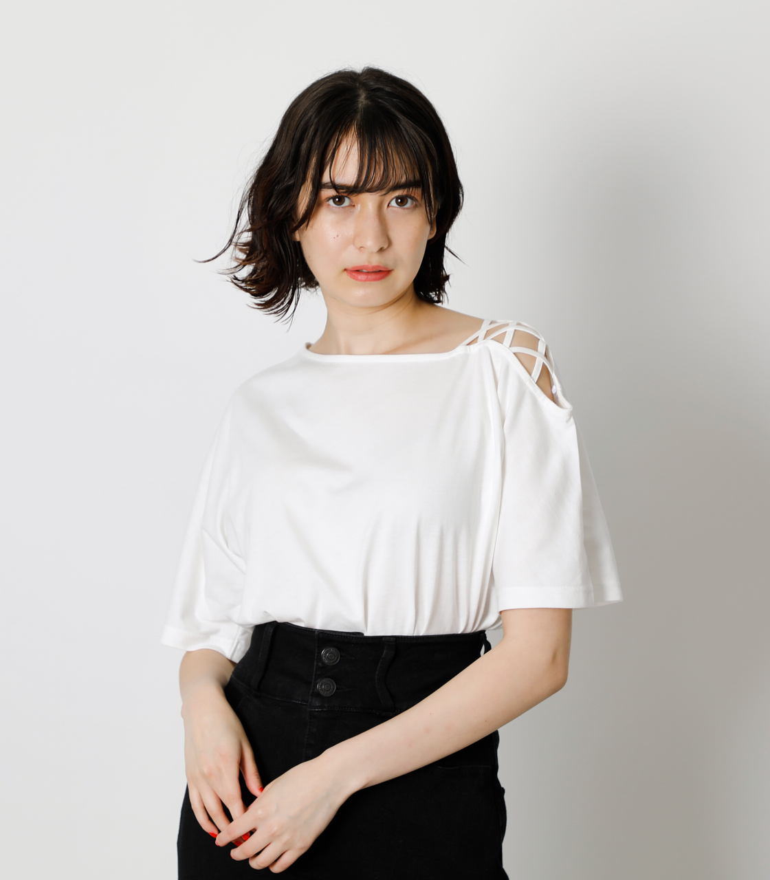 SHOULDER LACE UP TOPS/ショルダーレースアップトップス 詳細画像 O/WHT 1