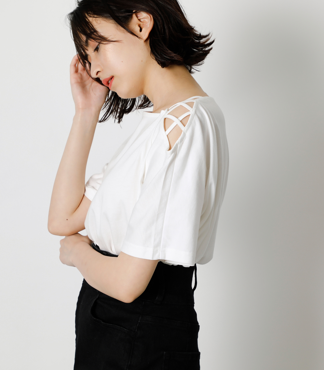 SHOULDER LACE UP TOPS/ショルダーレースアップトップス 詳細画像 O/WHT 2
