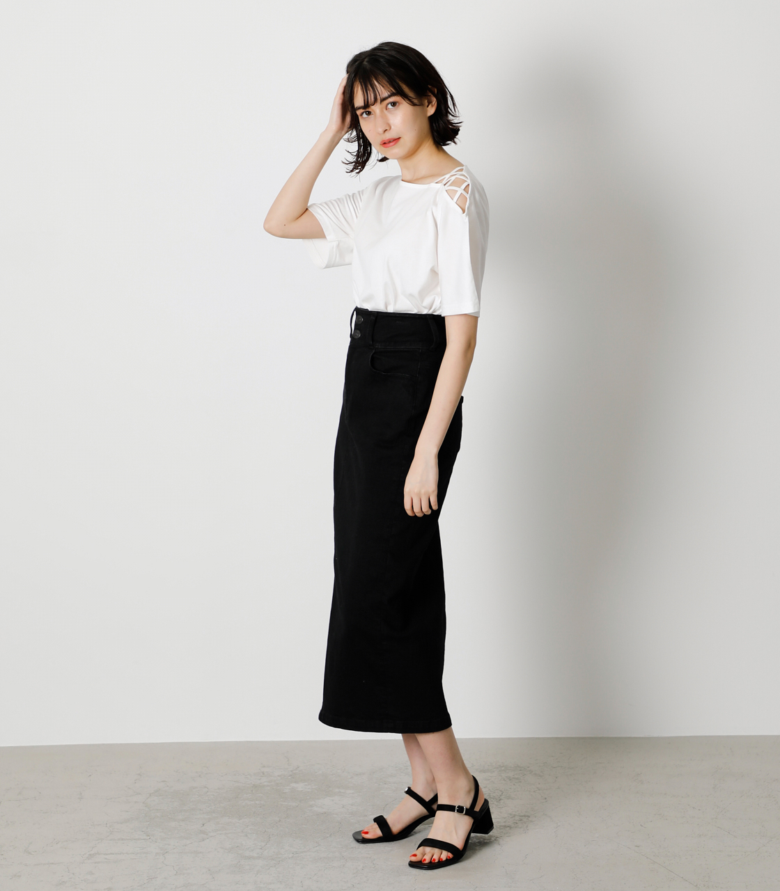 SHOULDER LACE UP TOPS/ショルダーレースアップトップス 詳細画像 O/WHT 3