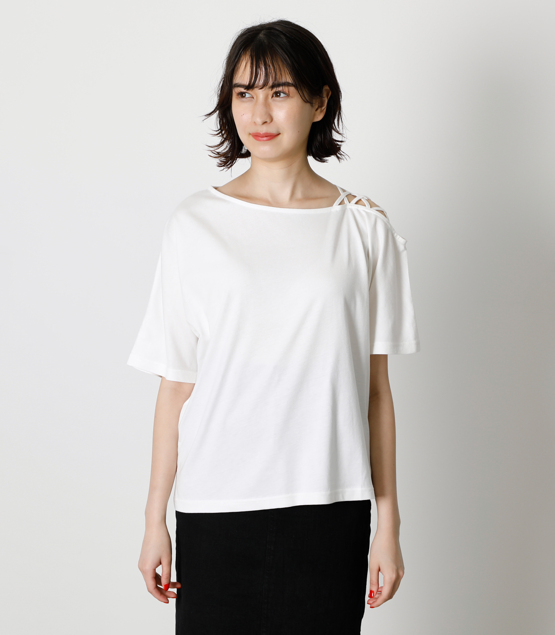SHOULDER LACE UP TOPS/ショルダーレースアップトップス 詳細画像 O/WHT 4