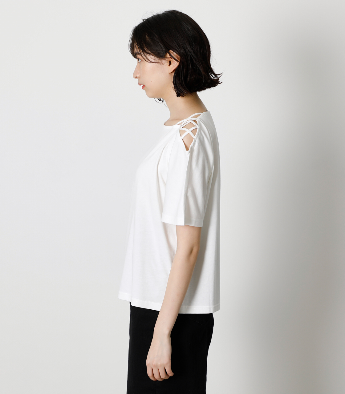 SHOULDER LACE UP TOPS/ショルダーレースアップトップス 詳細画像 O/WHT 5