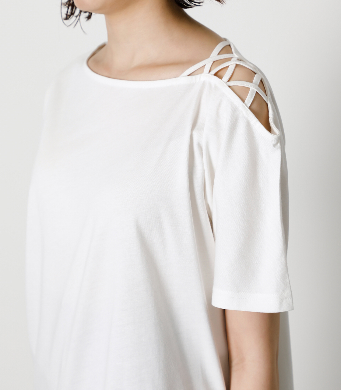 SHOULDER LACE UP TOPS/ショルダーレースアップトップス 詳細画像 O/WHT 8