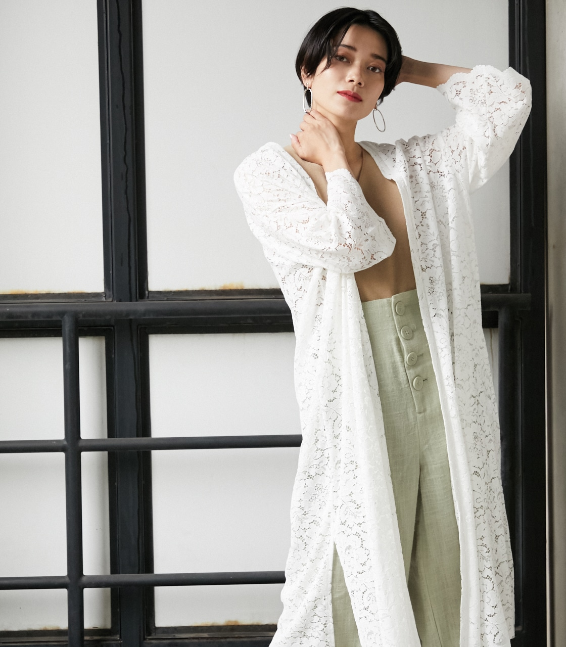 SCALLOP LACE LONG GOWN/スカロップレースロングガウン 詳細画像 O/WHT 11