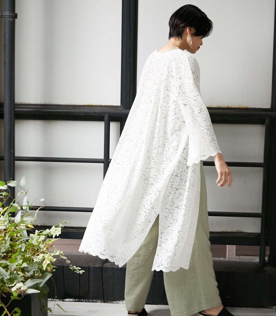 SCALLOP LACE LONG GOWN/スカロップレースロングガウン 詳細画像 O/WHT 12