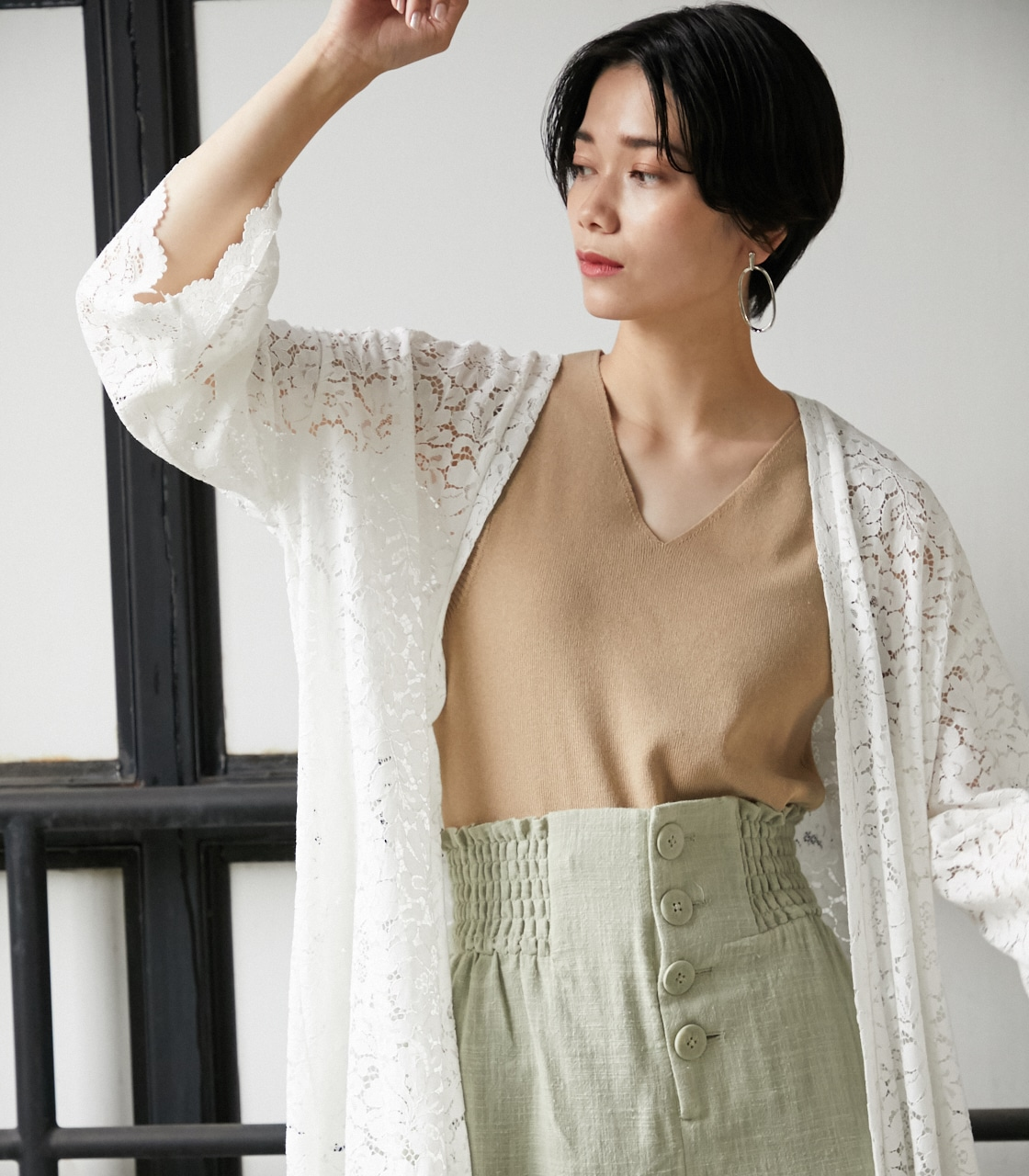 SCALLOP LACE LONG GOWN/スカロップレースロングガウン 詳細画像 O/WHT 13