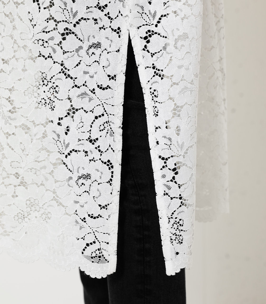 SCALLOP LACE LONG GOWN/スカロップレースロングガウン 詳細画像 O/WHT 9