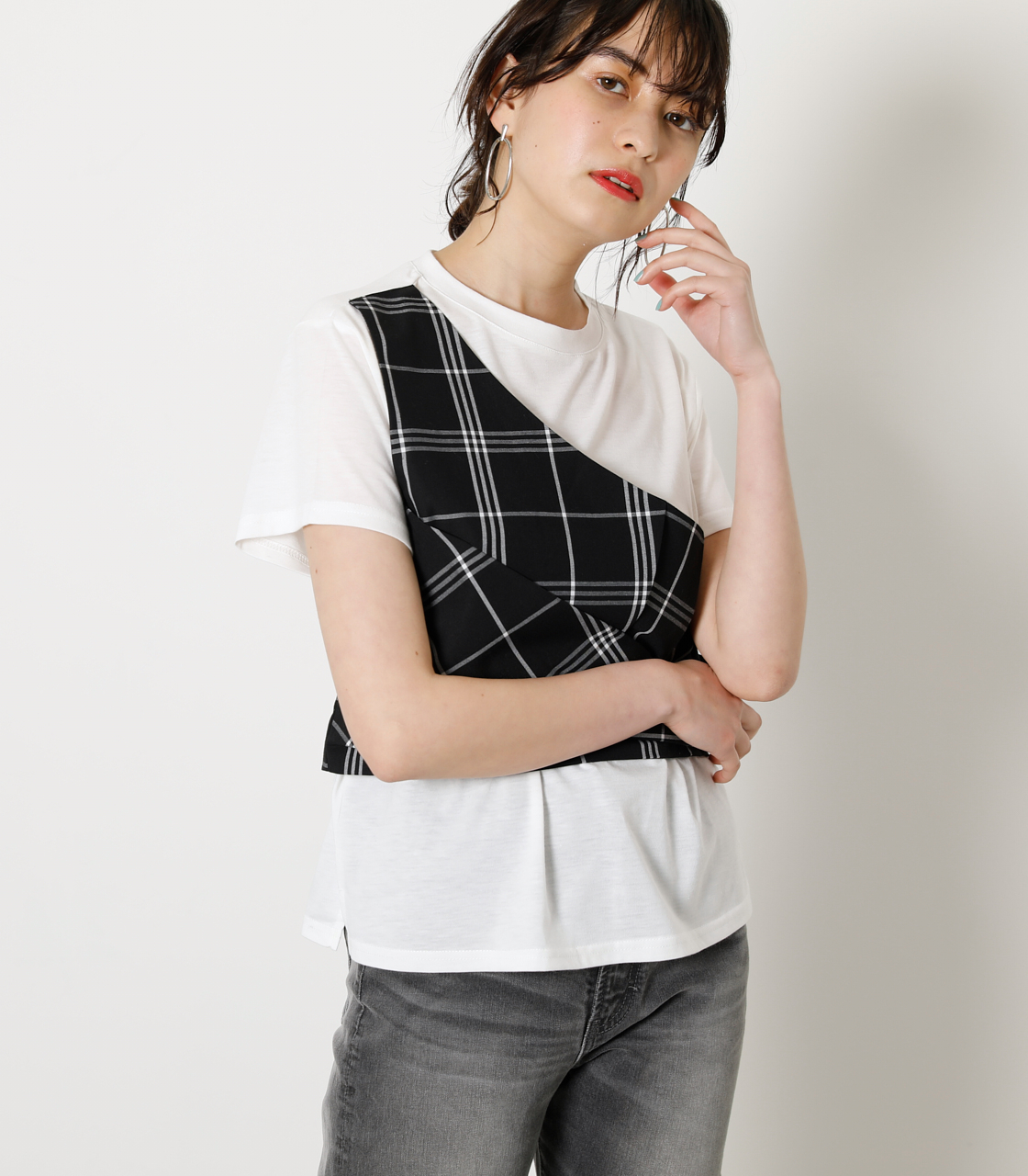 ONESHOULDER CHECK BUSTIER TOPS/ワンショルダーチェックビジタートップス 詳細画像 柄BLK 1