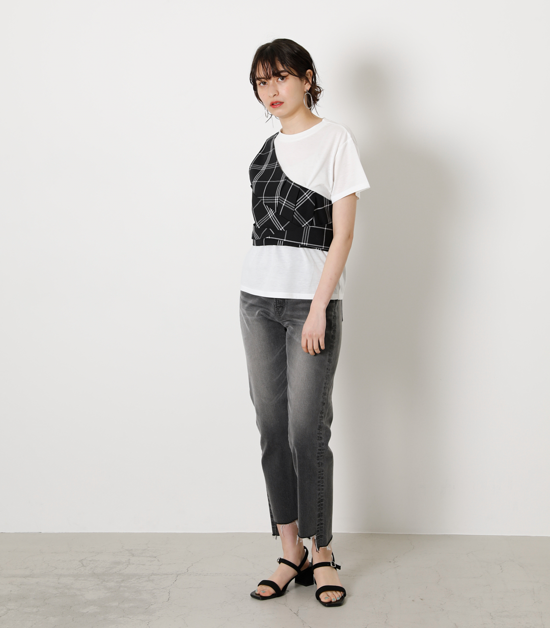 ONESHOULDER CHECK BUSTIER TOPS/ワンショルダーチェックビジタートップス 詳細画像 柄BLK 3