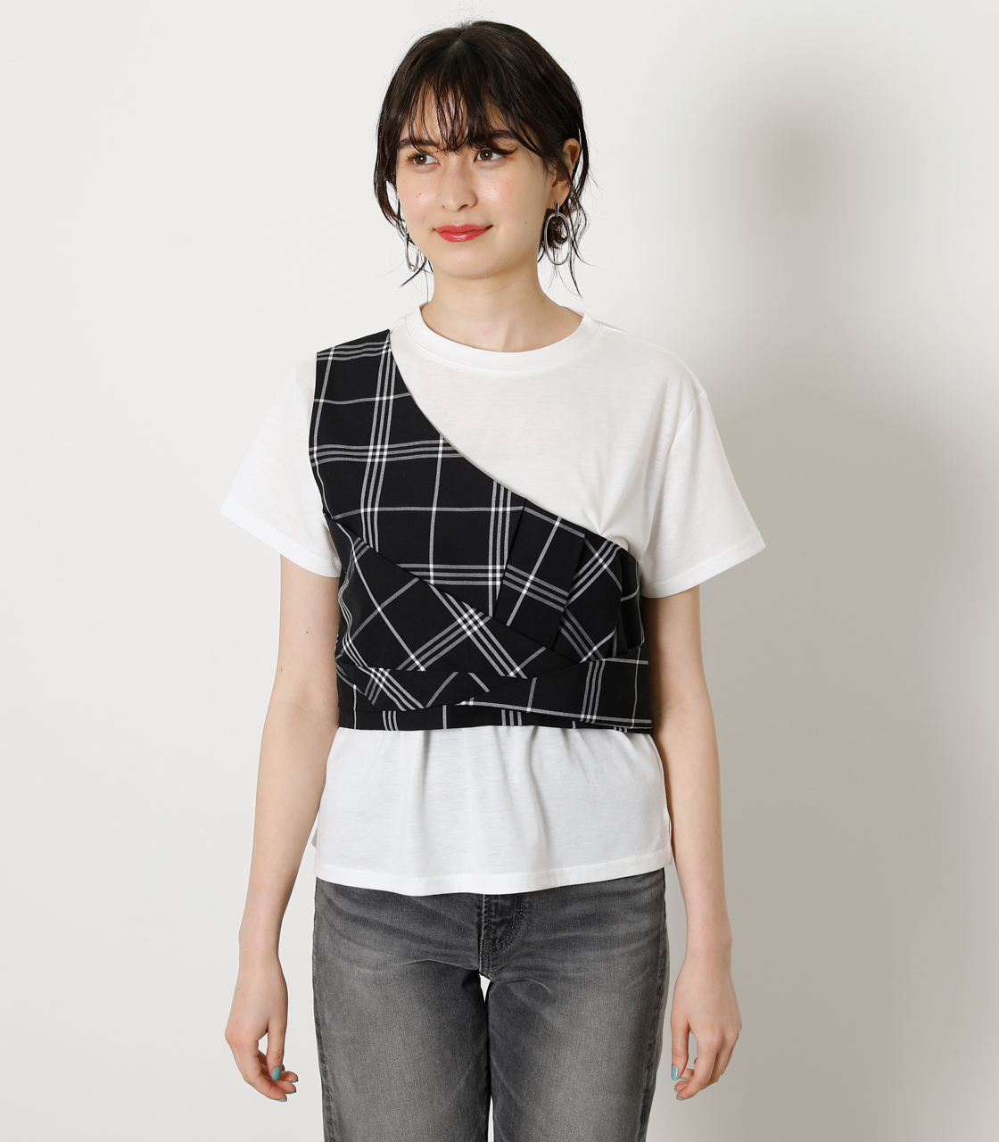 ONESHOULDER CHECK BUSTIER TOPS/ワンショルダーチェックビジタートップス 詳細画像 柄BLK 4