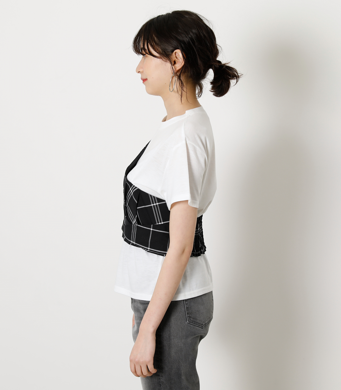 ONESHOULDER CHECK BUSTIER TOPS/ワンショルダーチェックビジタートップス 詳細画像 柄BLK 5