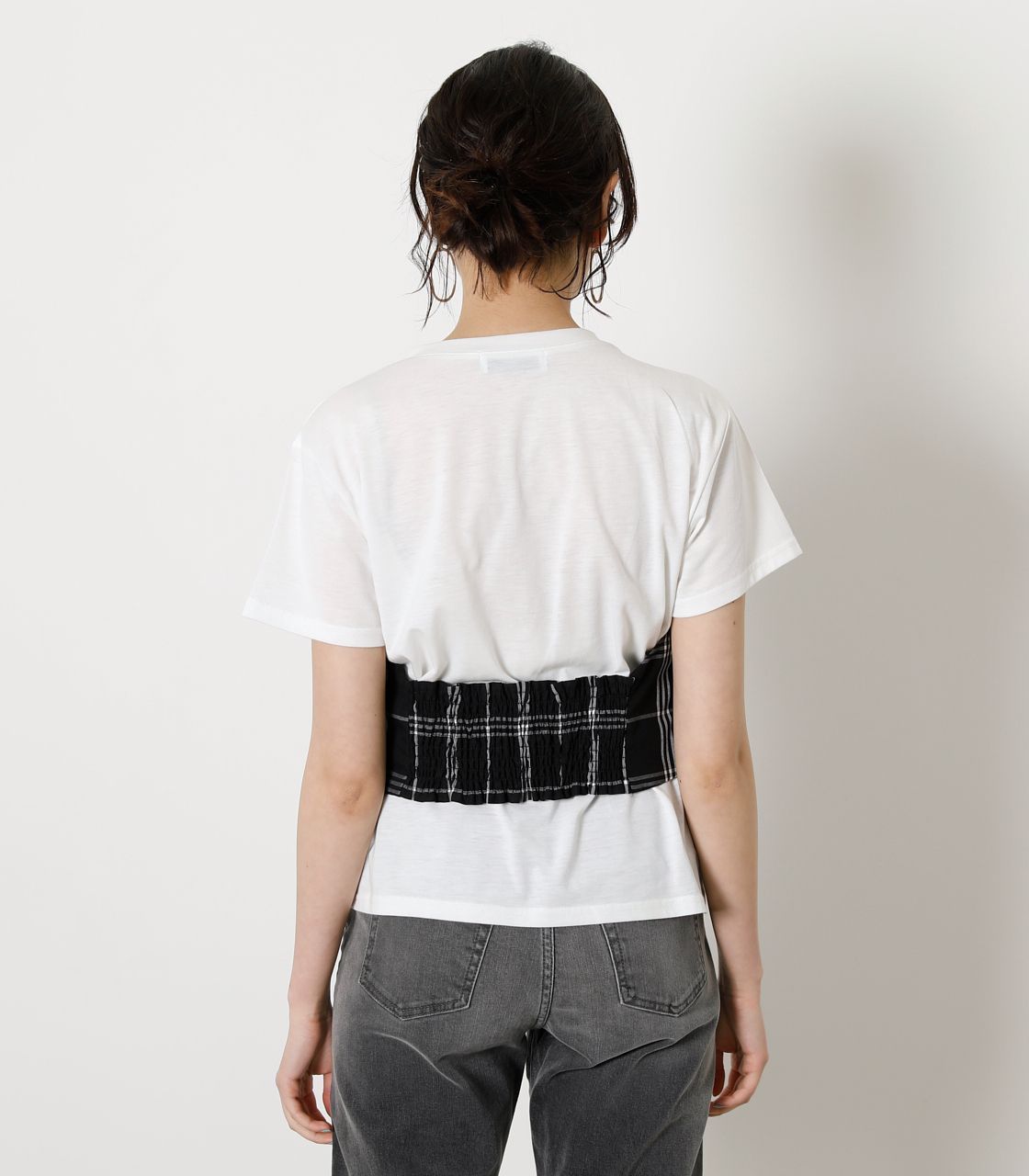 ONESHOULDER CHECK BUSTIER TOPS/ワンショルダーチェックビジタートップス 詳細画像 柄BLK 6