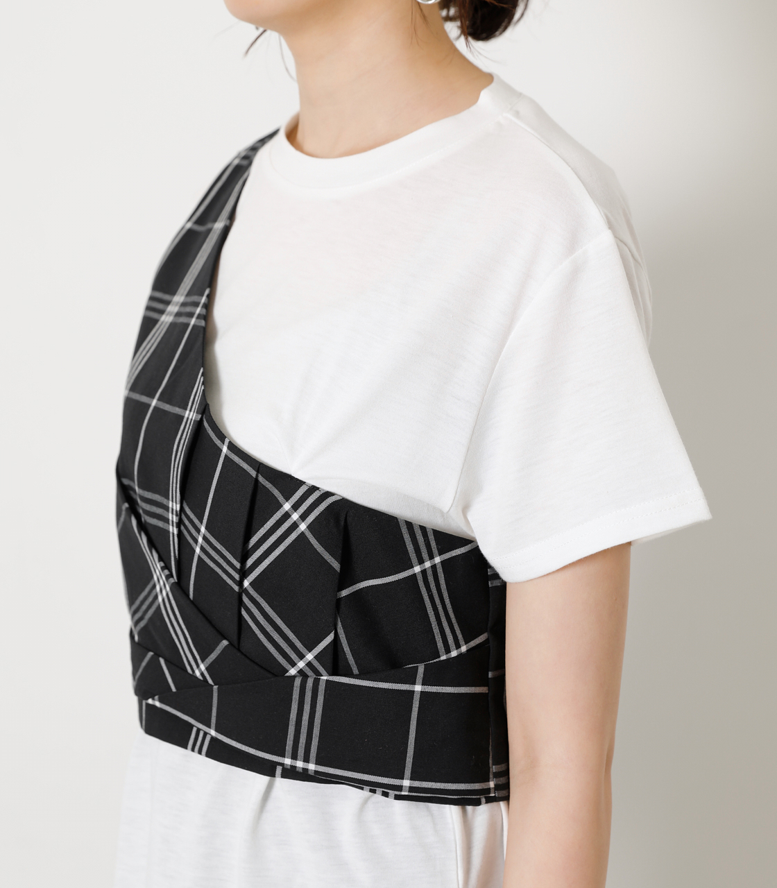 ONESHOULDER CHECK BUSTIER TOPS/ワンショルダーチェックビジタートップス 詳細画像 柄BLK 7