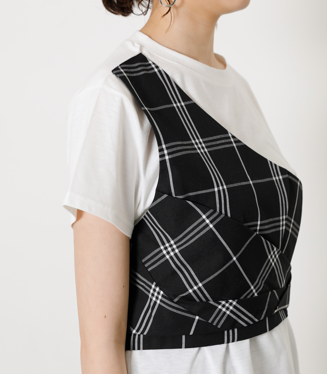 ONESHOULDER CHECK BUSTIER TOPS/ワンショルダーチェックビジタートップス 詳細画像 柄BLK 8