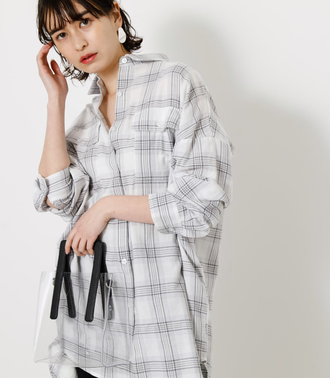 CHECK LOOSE SHIRT/チェックルーズシャツ 詳細画像 柄WHT 2