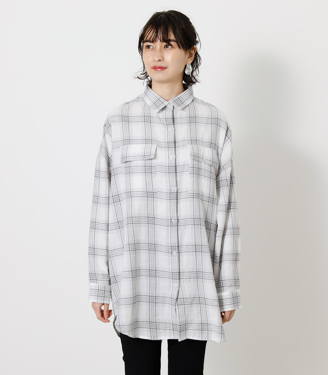 CHECK LOOSE SHIRT/チェックルーズシャツ 詳細画像 柄WHT 4