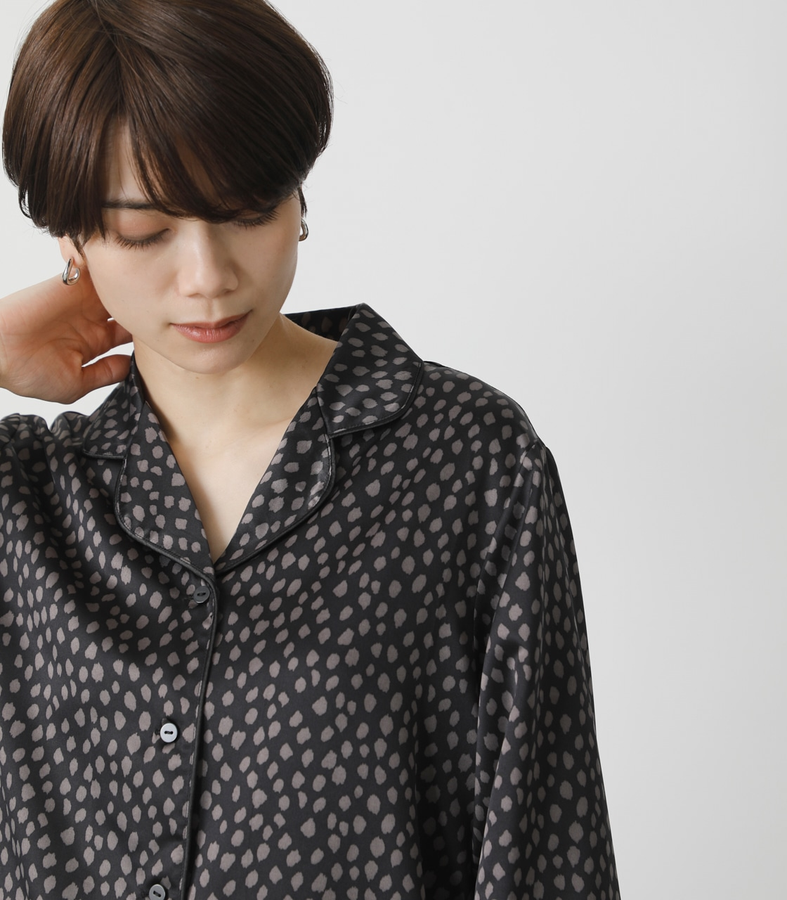T/H SATIN L/S PAJAMAS/T/Hサテンロングスリーブパジャマ 詳細画像 柄BLK 4