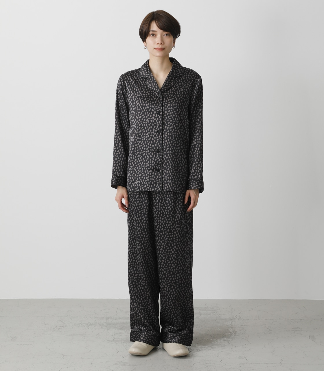 T/H SATIN L/S PAJAMAS/T/Hサテンロングスリーブパジャマ 詳細画像 柄BLK 5
